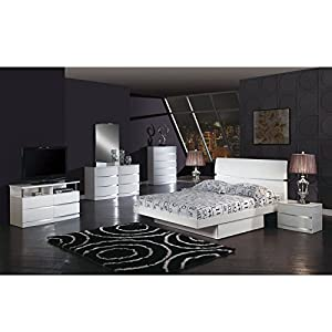 Global Furniture Aurora Collection MDF/Wood Veneer Bedroom Set with Full Bed, White