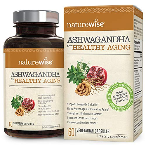 NatureWise Ashwagandha for Healthy Aging | KSM 66 Ashwagandha Organic Extract + Anti-Aging Superblend with Resveratrol, Astaxanthin, Reishi, Pomegranate (⬇ Watch Video in Images) [1 Month - 60 Count]