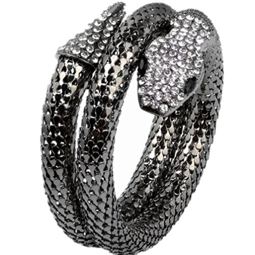 2019Cool Black Cleopatra Vintage Retro Punk Crystal Flexible Mesh Snake Bracelet Arm Accessory - Vintage Magazine Cuban