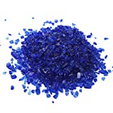 Alan Stone High Luster Reflective Fire Glass Gravel,Fire Gems,Fire Drops,Fire Glass Pebbles Stones Beads Chips for Fire Pit Fish Tank Aquarium Garden Gifts Decoration,3-6mm (305g, Sapphire Blue)