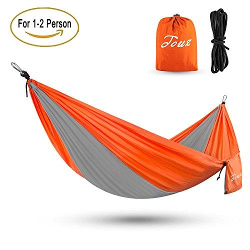 Touz Parachute Lightweight Portable Nylon Fabric Travel Camping Hiking Hammock(Gray/Orange)