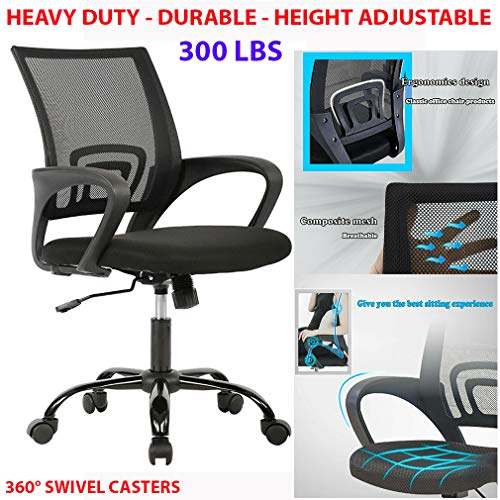 300lbs 360° Swivel Heavy Duty Office Chair Ergonomic Desk Chair Mesh Computer Chair Lumbar Support Modern Executive Adjustable Stool Rolling Swivel Chair for Back Pain, Black