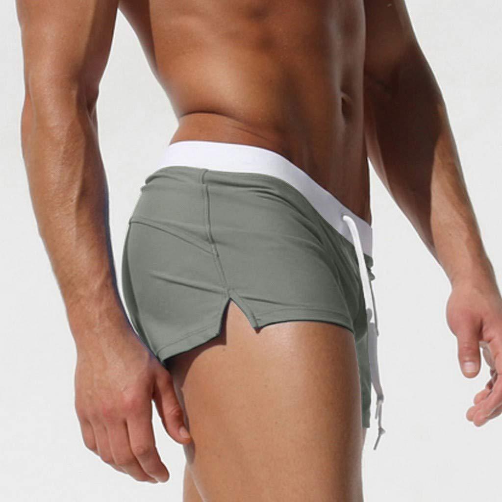 STORTO Mens Boxer Briefs Solid Hawaii Swim Trunks Summer Surfing Pockets Swimwears Board Shorts