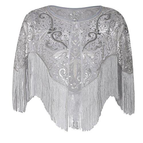 PrettyGuide Women's Flapper Shawl Bead Sequin Inspired 1920s Gatsby Evening Warps Matte Grey by PrettyGuide