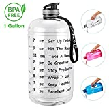 10. AOMAIS Gallon Water Bottle with Motivational Time Marker, Large 128 oz, Leak-Proof, Wide Mouth, BPA Free Water Bottles for Sports Gym Fitness Work(1 Gallon,Transparent)