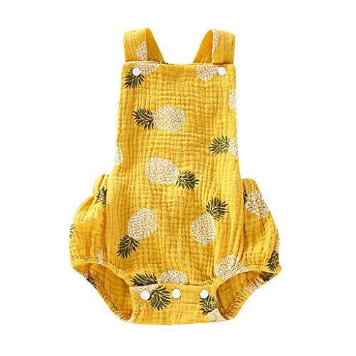 Newborn Baby One Piece Summer Romper Baby Girl Pineapple Print Jumpsuit Sleeveless Backless Overalls Outfits Yamally Yellow