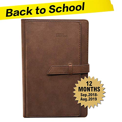 Daily Planner Monthly Calendar Schedule Organizer,Bullet Journal Appointment Book with Card Slots Pen Holder,Pu Leather Cover,320 Beige Pages,Dated,8X5.7Inches,School Year 2018.9-2019.8(Brown)