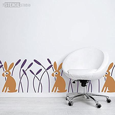 The Stencil Studio Rabbit /& Reeds Border Scandi Style Nursery Wall Stencil A3 Reusable laser cut wall stencil for home decor Childs Room or Nursery Size Medium 10586M