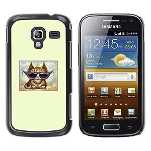 TopCaseStore / la caja del caucho duro de la cubierta de protección de la piel - Cool Cat Glasses Ginger Orange Art - Samsung Galaxy Ace 2 I8160 Ace II X S7560M