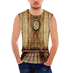 Mens Workwear Victorian Decor Ultra Cotton Tank,Antique Clock on Medieval Style