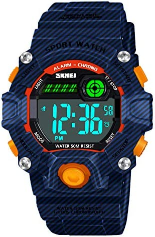 HODO Kids 50M Waterproof LED Sports Digital Watch with Alarm for Boys Girls