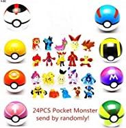 SBGYRO TOYS 8 Collectible Pokeball + 24PCS Mini Poke Action Figures mon pet Pocket Monster Action Figure Toy for Kids Ages 2