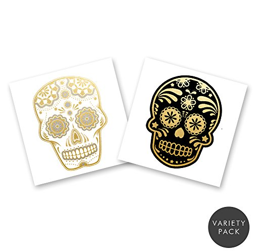 SKULLS VARIETY PACK Flash Tattoos set of 24 assorted premium waterproof metallic gold and silver jewelry temporary foil party tattoos - party (Sugar Skull Flash)