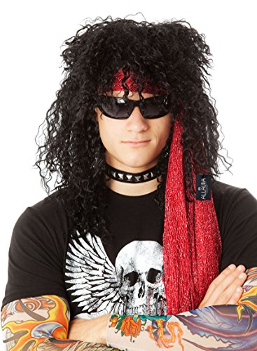 80's Wig Men Rockstar Black Slash KISS Rocker Costume Wigs | Fits Women & Kids (Rockstar Costumes)