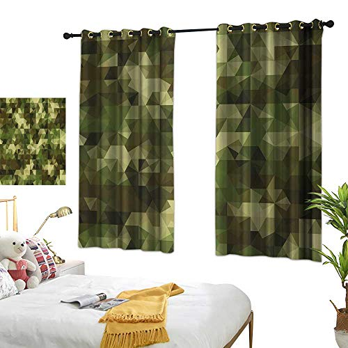 Sage Double Sconce - Warm Family Double Curtain Rod Sage,Abstract Camouflage Pattern with Fractal Look Geometric Triangles Shapes Mosaic Design,Green 72
