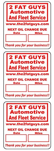 (1000 Custom 2x2 Red, Black, Blue, Green Oil Change Labels / Stickers