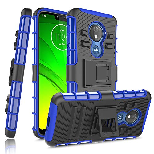 Moto G7 Power Case, Moto G7 Supra Case, Yiakeng Heavy Duty Protection with Kickstand Slim Fit Accessories Phone Cases for Motorola Moto G7 Power (Blue)