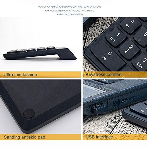 ZREAL Clavier Pav/é Num/érique Sans Fil 18 Touches 2.4 GHz Avec r/écepteur USB pour ordinateur portable Tablet PC Ordinateur de bureau
