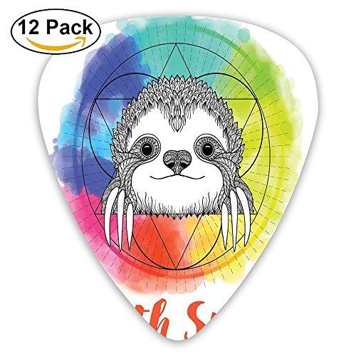 Newfood Ss Rainbow Colored Sketchy Happy Smiling Cartoon Sloth Guitar Picks 12/Pack Set