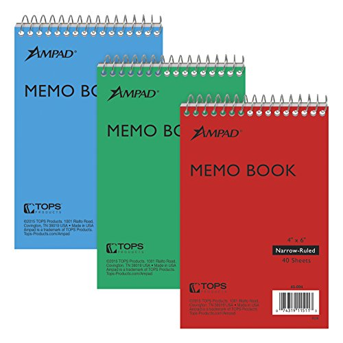 Ampad Efficiency Pocket Notebook, Recycled, 4 X 6 Inches, Single Wire, Top Open, Assorted Covers,3 Notebooks per Pack, Red/Blue/Green (45-094) (Pressboard Notebook)
