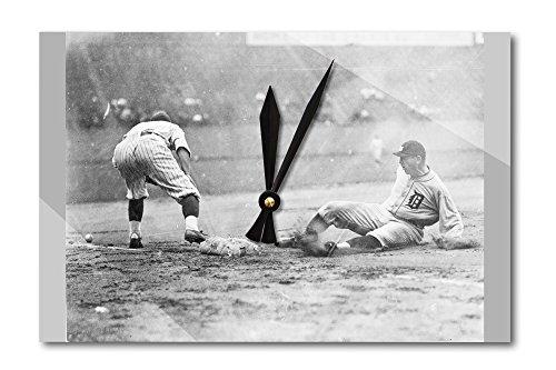 (Detroit Tiger Playing Sliding into Third Base Baseball Photograph (Acrylic Wall Clock))