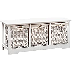 SUNCOO White Wood Vintage Chic Table Nightstand End Side, Bedside, Bedroom, Bathroom 3 Wicker Baskets