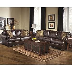 Ashley Furniture Axiom 2 Piece Leather Sofa Set In Walnut Kitchen Dining