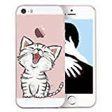 iPhone 5S Case,iPhone 5 Case Funny Cat Animal, Personality Cute Cartoon Pet Clear Design Printed Transparent TPU Protective Phone Back Cover for iPhone 5 (4 Inch) (Funny Cat)