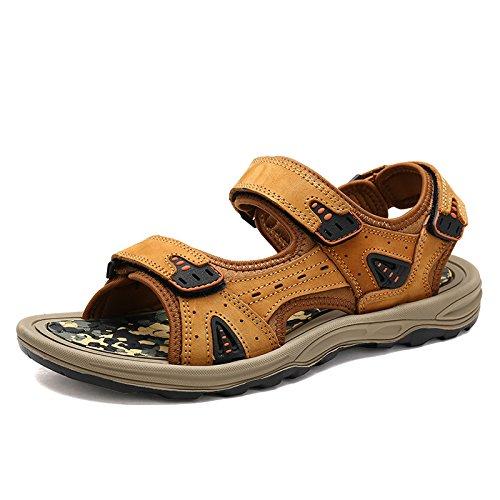 Gli Uomini Sono Dei Sandali, In Vera Pelle Le Scarpe, Scarpe Di Cuoio, Calzature Da Spiaggia,Giallo - Marrone,Eu41