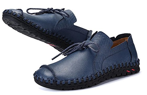 Walking Men's by Loafer Driving Blue Genuine JiYe Shoes Shoes Slip Leather On qZ0qw4dt
