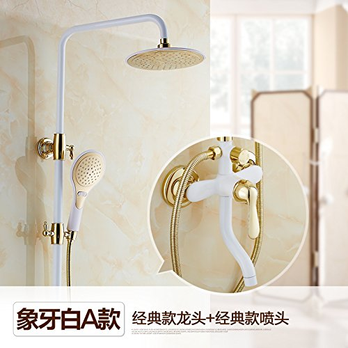 White a Hlluya Professional Sink Mixer Tap Kitchen Faucet Shower Kit Full copper hot and cold bath grilled white painted white with golden taps shower B,d