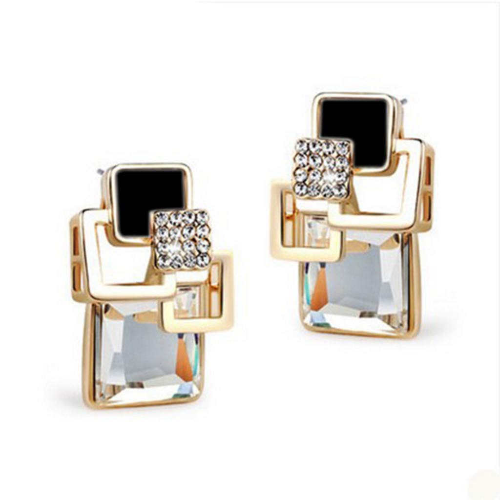 Toponly Bohemian Vintage Square Crystal Geometric Earrings Vintage Fashion Fine Gold Jewelry