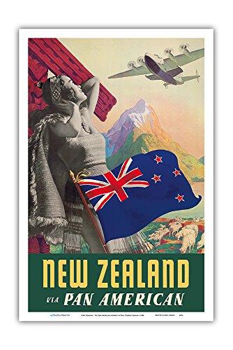 New Zealand - Via Pan American Airways - Vintage Airline Travel Poster by Paul George Lawler c.1940 - Master Art Print - 12in x 18in