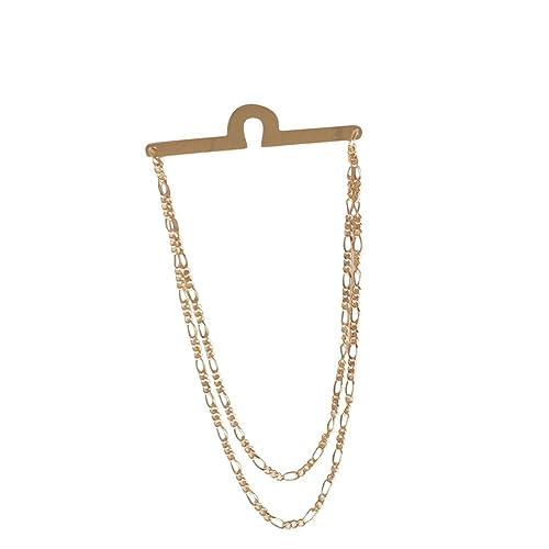 Corbata chapada en oro con clip de cadena doble para hombre el ...
