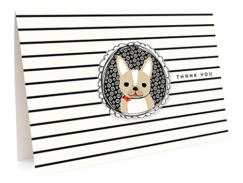 Frenchie Thank You Cards, 6-Pack by Night Owl Paper - Card Bulldog Business