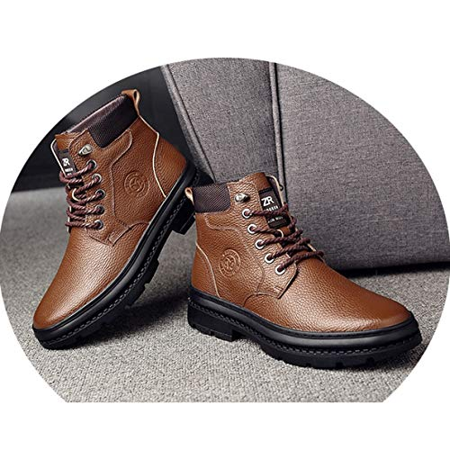 (GanQuan2018 Men's Martin Boot Round Toe Lace-Up Winter Outdoor Work Boots)