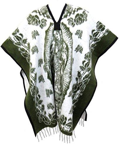 Ethnic Identity Authentic Mexican Poncho Virgen de Guadalupe Reversible Cobija Blanket (Olive Reversible Blanket)