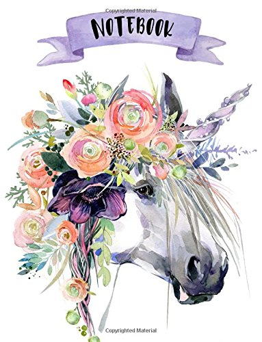 Notebook: 160 pages - Unicorns - 8.5 x 11 - Soft Glossy Cover - journal, planner, planning, organizer, College, School, College Ruled Notebook pdf epub