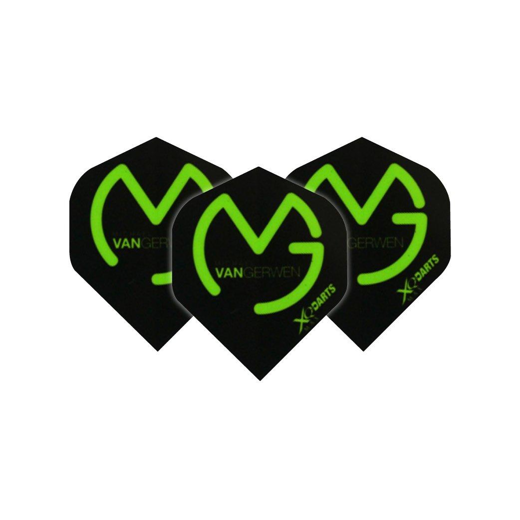 Michael Van Gerwen, colore: nero con Logo alette Per freccette, Extra spesso, 3 set/confezione, 9 Dart Flights & in totale), motivo: Dragone Rosso del Checkout Red Dragon Darts