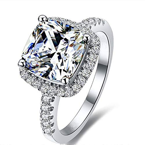Erllo Cushion 3ct Cubic Zirconia CZ Promise Halo Solitaire Wedding Engagement Ring 925 Sterling Silver (6.5)
