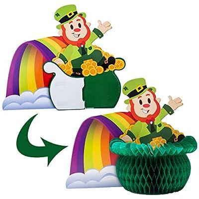 JOYIN St. Patrick's Day Colorful Foil Hanging Swirls with Lucky Irish Green Shamrock and Leprechauns Saint Patricks Pot-O-Gold Centerpiece Tissue St Patricks Poms Party Decorations: Toys & Games