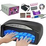 54W UV Nail Dryer Machine Gel Light Lamp + Electric Drill File Manicure Tool Kit