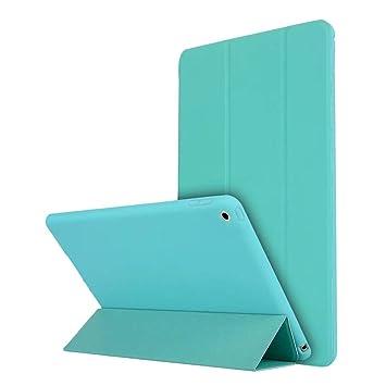 para el nuevo iPad 9.7-pulgadas 2018 2017 Funda, Lake Blue Slim-Fit elegante funda de goma Estuche Despertar despierto para Apple iPad Retina 5ta ...
