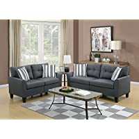 Benzara BM168686 Glossy Polyfiber Sofa with Loveseat and Cushion, Gray