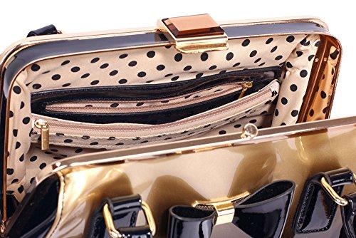 ANNA GRACE - Bolso al hombro de Charol para mujer Design 2 - Gold