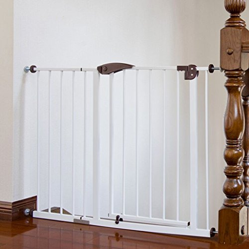 Extra Wide Baby Gate With Pet Door Attach To Banister Stair Doorways Banister Wall Protector Whtie Metal 75-164CM Wide (Size : 105-114cm) -