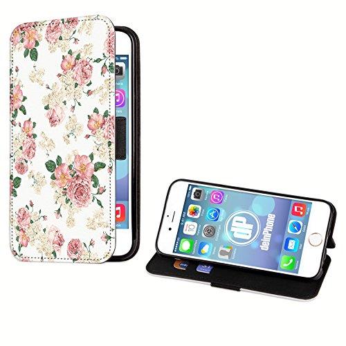 deinPhone Apple iPhone 6 6S KUNSTLEDER FLIP CASE Hülle Tasche Blumengesteck Weiß