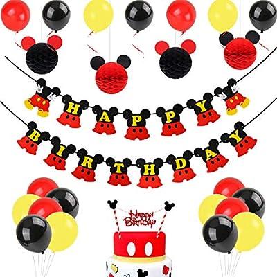 Decoraciones de cumpleaños de Mickey Mouse, bolas de nido de abeja de Mickey Paper de Red Black, banner de Happy Birthday, adorno de pastel para la ...