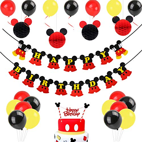 Mickey Mouse Birthday Decorations, Black Red Mickey Paper Honeycomb Balls, Happy Birthday Banner, Cake Topper for Mickey Mouse Themed Party]()