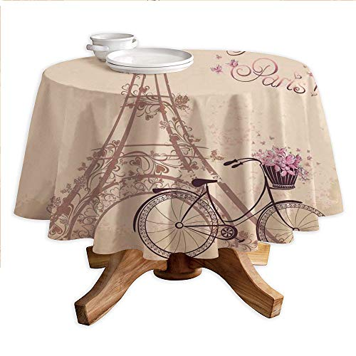 Paris Round Polyester Tablecloth,Bonjour Paris Eiffel Tower and Vintage Bicycle with Flowers Retro Soft Color Print,Dining Room Kitchen Round Table Cover,42